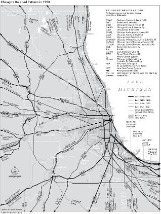 Chicagos Railroad Pattern in 1950