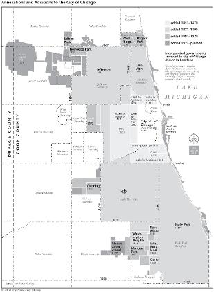 Suburban Chicago Map.Annexations And Additions To The City Of Chicago